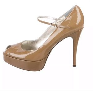 DOLCE & GABBANA  TAN Open Toe Platform Pumps 7